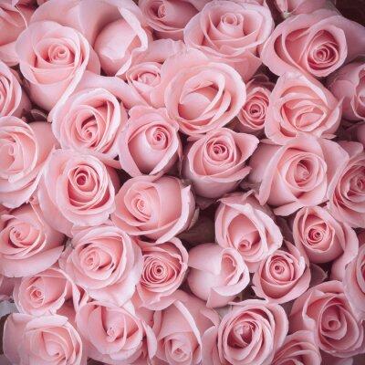 Canvas print pink rose flower bouquet vintage background