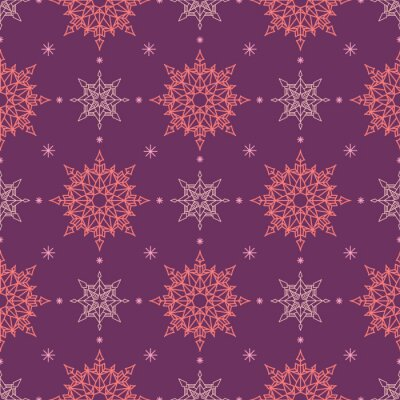 Pink snowflakes in geometric order on a purple background. Seamless pattern. Pattern for fabric, wrapping paper for Christmas gifts. Vector