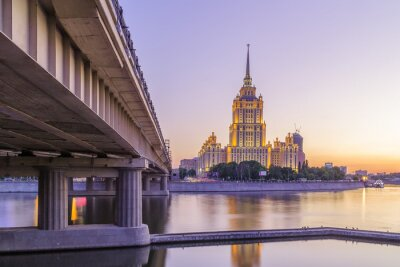 Canvas print Pink sunset at hotel Ukraine in Moscow night