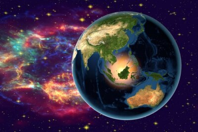 Canvas print Planet Earth on the background with stars and galaxies, the Earth from space showing Indonesia, Australia, India and Malaysia on globe in the night time, elements of this image furnished by NASA