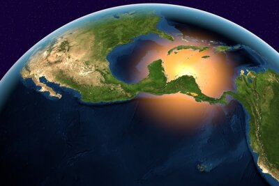Canvas print Planet Earth, the Earth from space showing Central America, Belize, Costa Rica, El Salvador, Guatemala, Honduras, Nicaragua, Panama on globe in the day time, elements of this image furnished by NASA