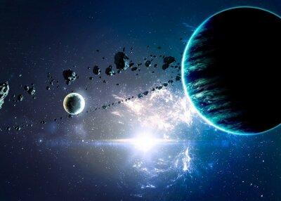 Canvas print Planets over the nebulae in space. Elements of this image