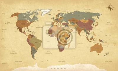 Canvas print Planisphère Mappemonde Vintage - Textes en français. Vecteur