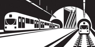 Canvas print Platform of subway station with trains - vector illustration