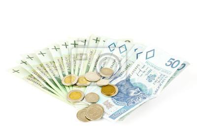 polish money isolated on white background