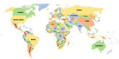 Canvas print Political map of World
