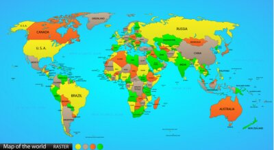 Canvas print Political world map