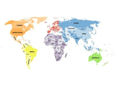 Canvas print Political world map on white background.