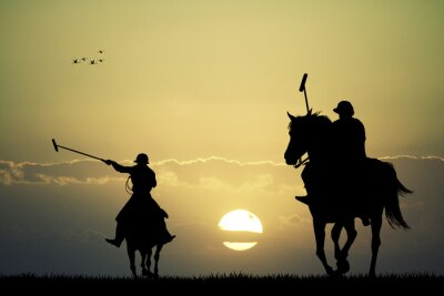 Canvas print polo players on horses