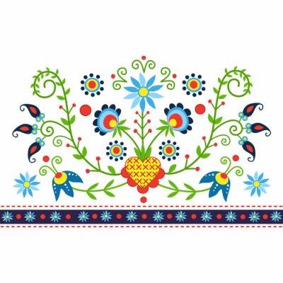 Canvas print polski wzór ludowy z Kaszub - inspiracja