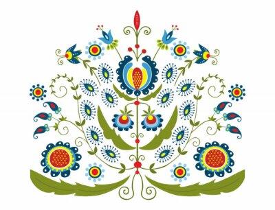 Canvas print Polski wzór z dekoracyjnymi kwiatami