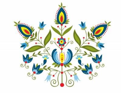 Canvas print Polski wzór z ozdobnymi  kwiatami