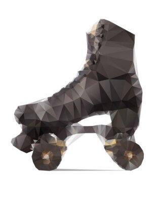 Canvas print Polygonal illustration of black rollerskate isolated