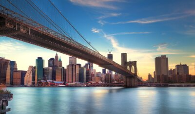 Canvas print Pont de Brooklyn vers Manhattan, New York.