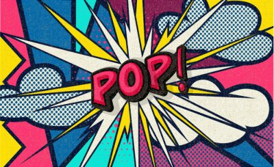 Canvas print Pop! Pop art funny comic speech word. Fashionable poster and banner. Social Media Connecting Blog Communication Content. Trendy and fashion color retro vintage illustration background. Easy editable.