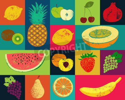 Canvas print Pop Art grunge style fruit poster. Collection of retro fruits. Vintage vector set of fruits.