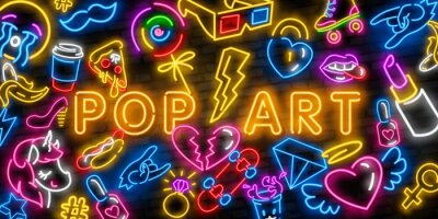 Canvas print Pop art icons set. Pop art neon sign. Bright signboard, light banner. Neon isolated icon, emblem. Heart, diamond, pizza, smile, hand, ice cream, star, donut and unicorn vector neon icon