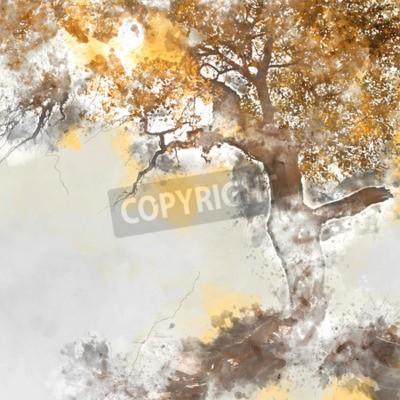 Canvas print Poplar tree in autumn season, watercolor background made in computer program