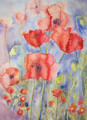 Canvas print Poppies in cheerful bright colours. The dabbing technique gives a soft focus effect due to the altered surface roughness of the paper.