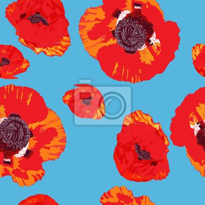 Canvas print poppies pattern