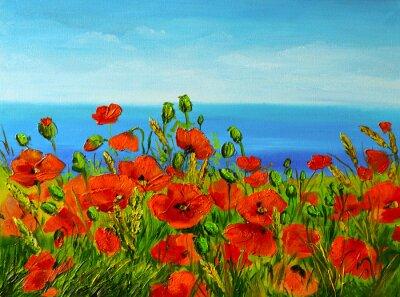 Canvas print poppy field near the sea, colorful coast, art oil painting