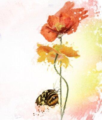 Canvas print Poppy Flowers Watercolor