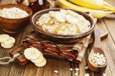 Canvas print Porridge with bananas