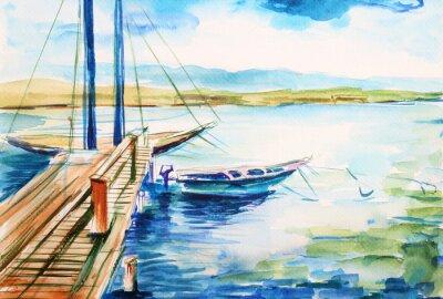 Canvas print Port nad jeziorem genewskim - ilustracja ręcznie malowana