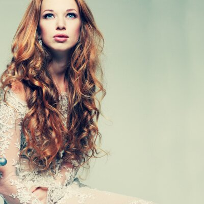 Canvas print portrait elegant redheaded girl is in lace clothes