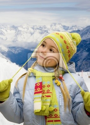 Canvas print Portrait of a little girl in mountains