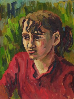Canvas print Portrait of a young girl. Oil painting
