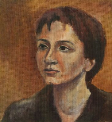 Canvas print Portrait of a young woman. Oil painting