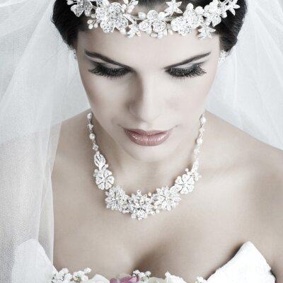 Canvas print Portrait of beautiful bride. Wedding dress. Wedding decoration