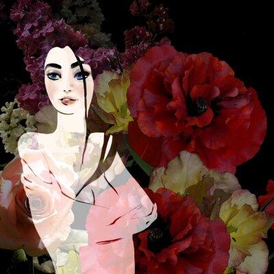 Canvas print portrait of beautiful brunette on floral background