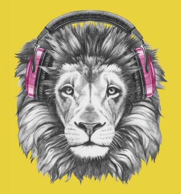 Canvas print Portrait of Lion with headphones. Hand drawn illustration.
