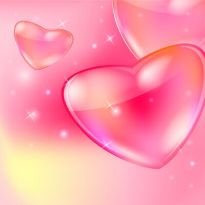 Postcard for Happy Valentine s day with glass hearts and bokeh lights. Vector illustration.