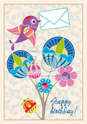 "Canvas print Postcard ""happy birthday"" to the bird, bearing in its beak a let"