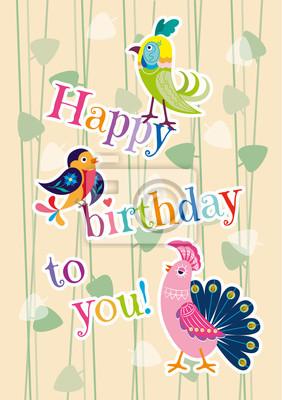 "Postcard ""happy birthday"" with decorative birds"