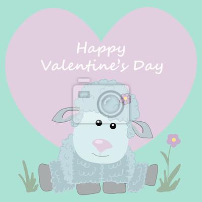 Postcard happy Valentine's day. Cute sheep. heart.