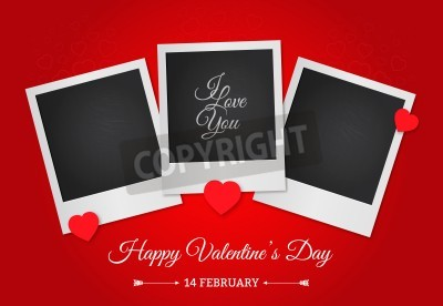 Postcard Happy Valentine's Day with a blank template for photo. Photo frame on a red background.