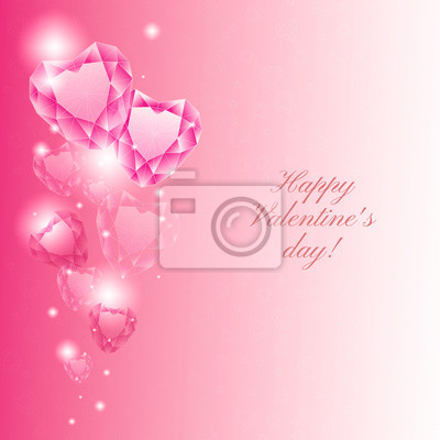 """Postcard """"Happy Valentine's day"""" with crystal hearts"""