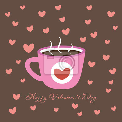 """Postcard """"Happy Valentine's Day"""" with cup"""