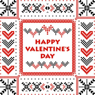 Postcard Happy Valentine's Day with scandinavian hearts