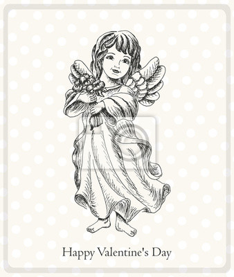 Postcard Happy Valentine's Day with the angel