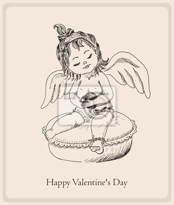 Postcard Happy Valentine's Day with the small girl-angel