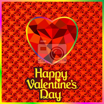 postcard on Valentine's day with the heart of a precious stone