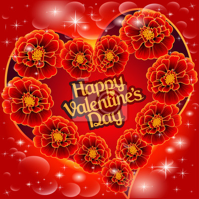 postcard on Valentine's day with the heart of red flowers