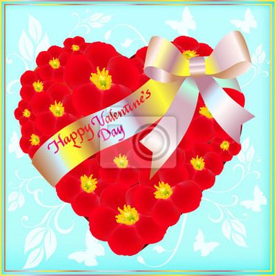 postcard on Valentine's day with the heart of red flowers and a