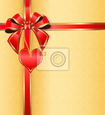 postcard on Valentine's day with the heart on a chain ribbon wit