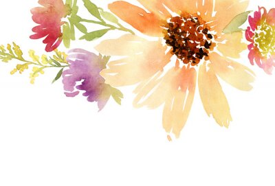Canvas print Postcard watercolor sunflowers. Wedding. Floral background.
